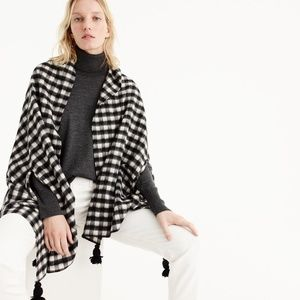 J.crew Checkered cape-scarf black white wool